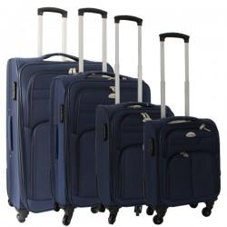 4-delige stoffen kofferset blauw