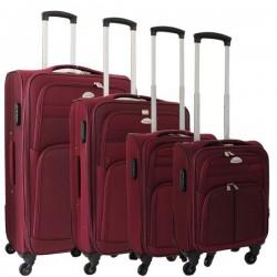 4-delige stoffen kofferset bordeaux rood