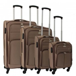 4-delige stoffen kofferset bruin