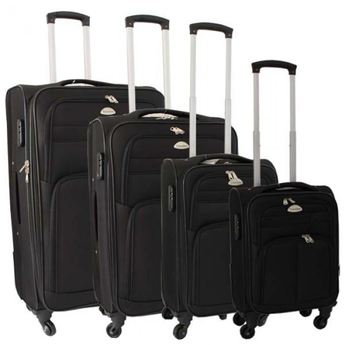 4 delige stoffen kofferset met cijferslot - reiskoffers - zwart