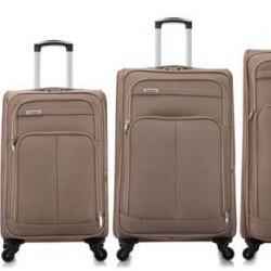 4 delige Travelerz stoffen kofferset met cijferslot bruin