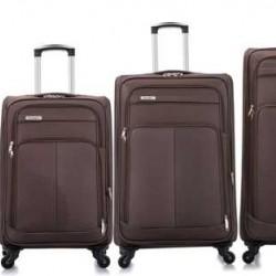 4 delige Travelerz stoffen kofferset met cijferslot donkerbruin