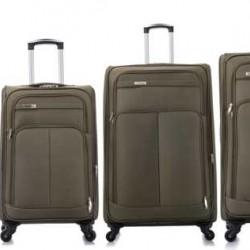 4 delige Travelerz stoffen kofferset met cijferslot olijf groen
