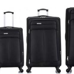 4 delige Travelerz stoffen kofferset met cijferslot zwart
