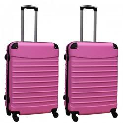 Travelerz kofferset 2 delige ABS groot - met cijferslot - 69 liter - licht roze