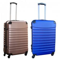 Travelerz kofferset 2 delige ABS groot - met cijferslot - 69 liter - rose goud - blauw