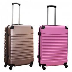 Travelerz kofferset 2 delige ABS groot - met cijferslot - 69 liter - rose goud - licht roze