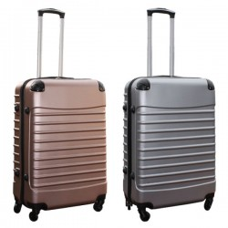 Travelerz kofferset 2 delige ABS groot - met cijferslot - 69 liter - rose goud - zilver