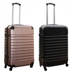 Travelerz kofferset 2 delige ABS groot - met cijferslot - 69 liter - rose goud - zwart