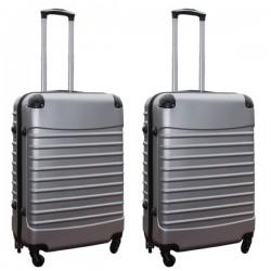 Travelerz kofferset 2 delige ABS groot - met cijferslot - 69 liter - zilver