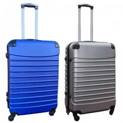 Travelerz kofferset 2 delige ABS groot - met cijferslot - 69 liter - zilver - blauw