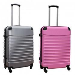 Travelerz kofferset 2 delige ABS groot - met cijferslot - 69 liter - zilver - licht roze