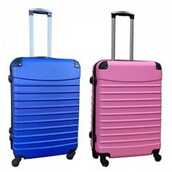Travelerz kofferset 2 delige ABS groot - met cijferslot - 69 liter - blauw - licht roze