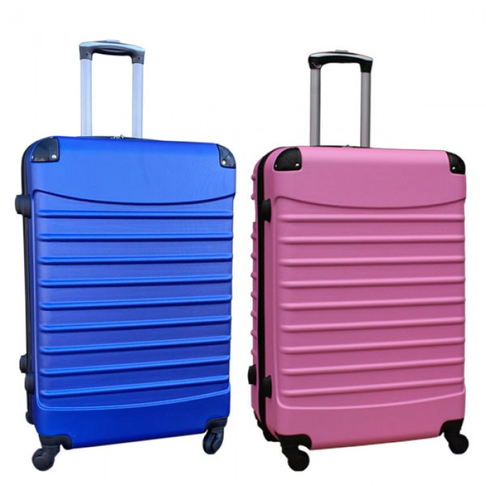 Travelerz kofferset 2 delige ABS groot - met cijferslot - 95 liter - blauw - licht roze