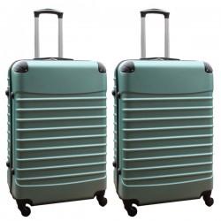 Travelerz kofferset 2 delige ABS groot - met cijferslot - 95 liter - groen
