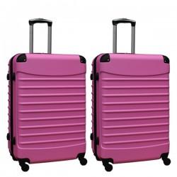 Travelerz kofferset 2 delige ABS groot - met cijferslot - 95 liter - licht roze