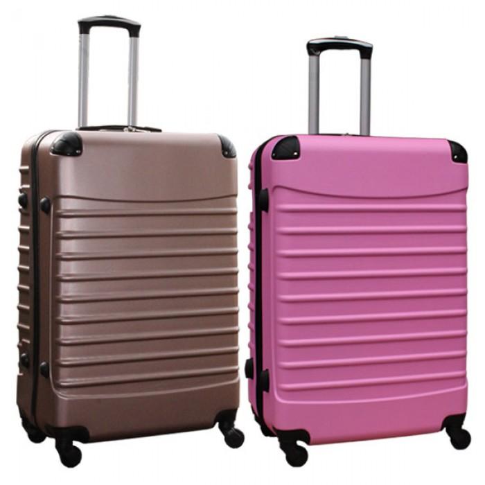 Travelerz kofferset 2 delige ABS groot - met cijferslot - 95 liter - rose goud - licht roze