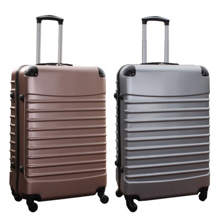Travelerz kofferset 2 delige ABS groot - met cijferslot - 95 liter - rose goud - zilver