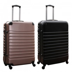 Travelerz kofferset 2 delige ABS groot - met cijferslot - 95 liter - rose goud - zwart