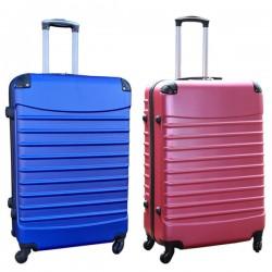 Travelerz kofferset 2 delige ABS groot - met cijferslot - 95 liter - roze - blauw