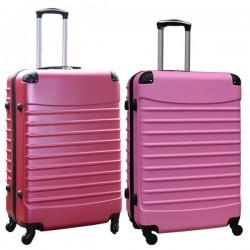Travelerz kofferset 2 delige ABS groot - met cijferslot - 95 liter - roze - licht roze