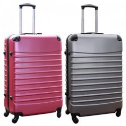 Travelerz kofferset 2 delige ABS groot - met cijferslot - 95 liter - roze - zilver