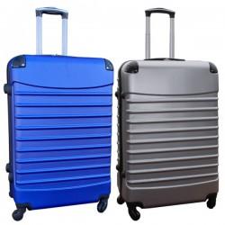 Travelerz kofferset 2 delige ABS groot - met cijferslot - 95 liter - zilver - blauw