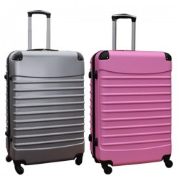 Travelerz kofferset 2 delige ABS groot - met cijferslot - 95 liter - zilver - licht roze