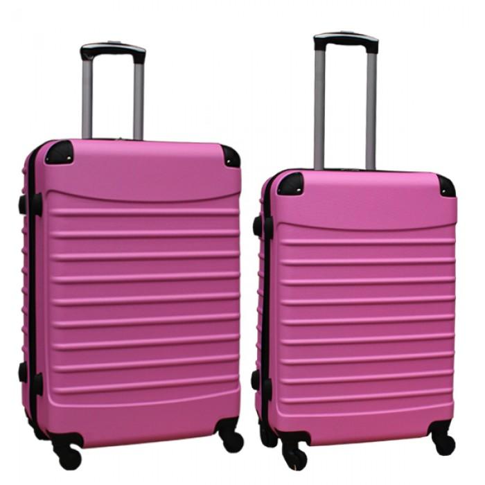 Travelerz kofferset 2 delige ABS groot - met cijferslot - reiskoffers 69 en 95 liter - licht roze