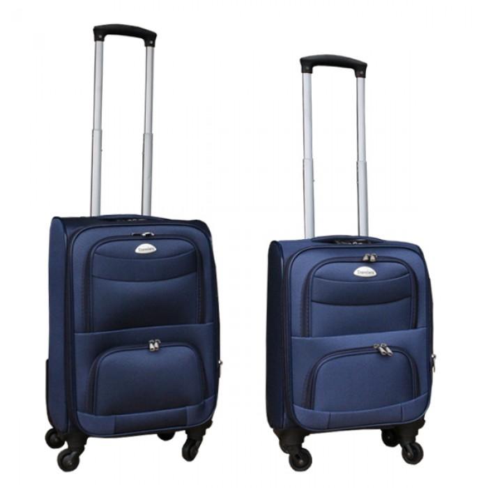 2 delige stoffen handbagage kofferset 27 en 39 liter blauw (stof)