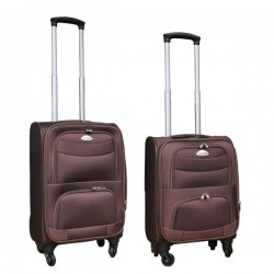 2 delige stoffen handbagage kofferset 27 en 39 liter bruin (stof)