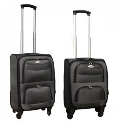 2 delige stoffen handbagage kofferset 27 en 39 liter grijs (stof)