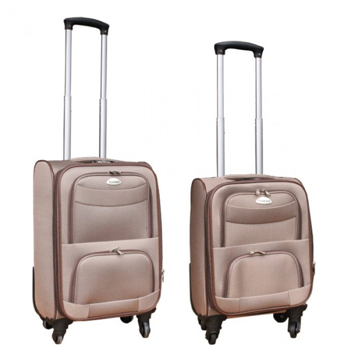 2 delige stoffen handbagage kofferset 27 en 39 liter licht bruin (stof)