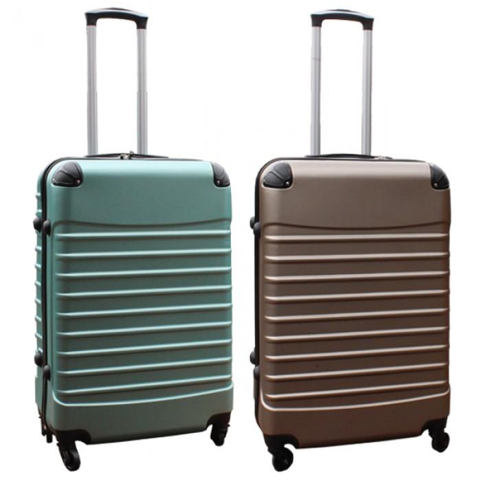 Travelerz kofferset 2 delige ABS groot - met cijferslot - 69 liter - groen – goud