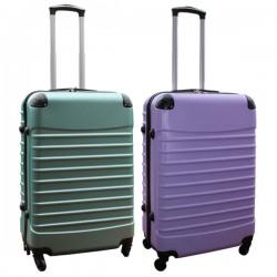 Travelerz kofferset 2 delige ABS groot - met cijferslot - 69 liter - groen – lila