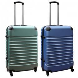 Travelerz kofferset 2 delige ABS groot - met cijferslot - 69 liter - groen - licht blauw