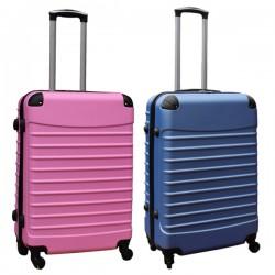 Travelerz kofferset 2 delige ABS groot - met cijferslot - 69 liter - licht blauw - licht roze