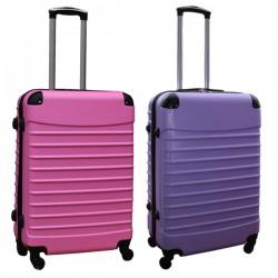 Travelerz kofferset 2 delige ABS groot - met cijferslot - 69 liter - licht roze - lila
