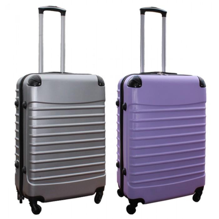 Travelerz kofferset 2 delige ABS groot - met cijferslot - 69 liter - zilver - lila