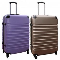 Travelerz kofferset 2 delige ABS groot - met cijferslot - 95 liter - goud - lila
