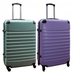 Travelerz kofferset 2 delige ABS groot - met cijferslot - 95 liter - groen - lila