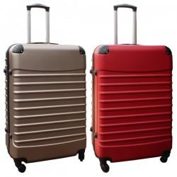 Travelerz kofferset 2 delige ABS groot - met cijferslot - 95 liter - rood - goud