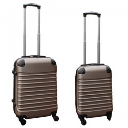 Travelerz kofferset 2 delige ABS handbagage koffers - met cijferslot - 27 en 39 liter – goud