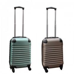 Travelerz kofferset 2 delige ABS handbagage koffers - met cijferslot - 27 liter - groen - goud