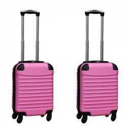 Travelerz kofferset 2 delige ABS handbagage koffers - met cijferslot - 27 liter - licht roze