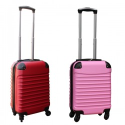 Travelerz kofferset 2 delige ABS handbagage koffers - met cijferslot - 27 liter - licht roze - rood
