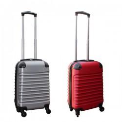 Travelerz kofferset 2 delige ABS handbagage koffers - met cijferslot - 27 liter - zilver - rood
