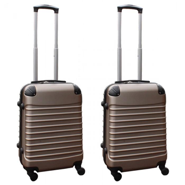 Travelerz kofferset 2 delige ABS handbagage koffers - met cijferslot - 39 liter - goud