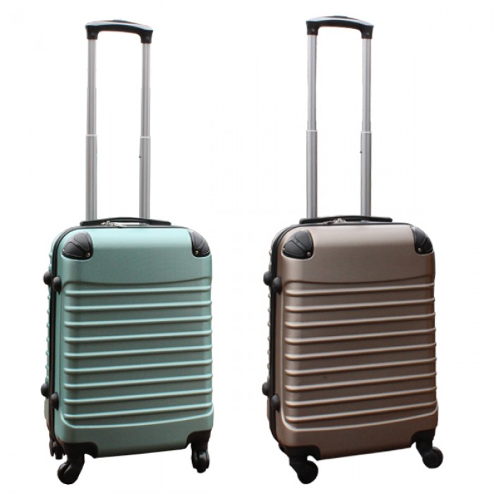 Travelerz kofferset 2 delige ABS handbagage koffers - met cijferslot - 39 liter - groen - goud