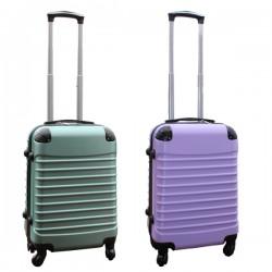 Travelerz kofferset 2 delige ABS handbagage koffers - met cijferslot - 39 liter - groen - lila